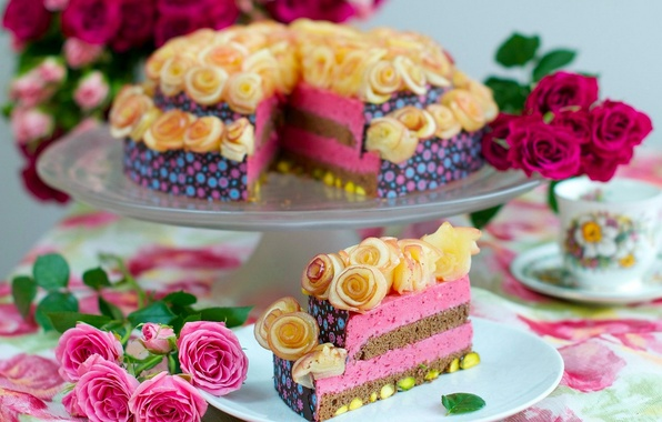 Picture flowers, tea, coffee, food, roses, Cup, cake, rose, cake, cake, cream, dessert, food, flowers, cup, ...