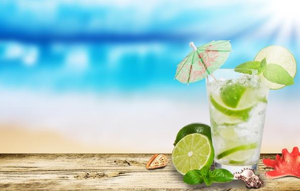 Picture glass, umbrella, lime, shell, starfish, Mojito