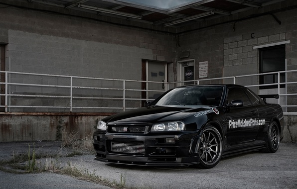 Picture nissan, black, skyline