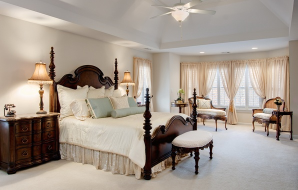 Picture white, design, room, bed, interior, the ceiling, chandelier, bedroom