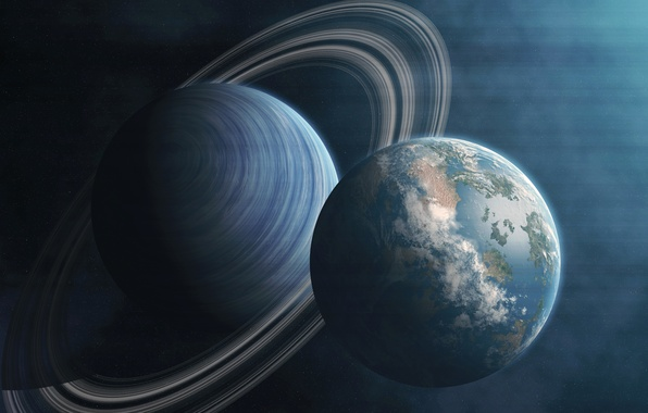 Picture the universe, planet, satellite, ring