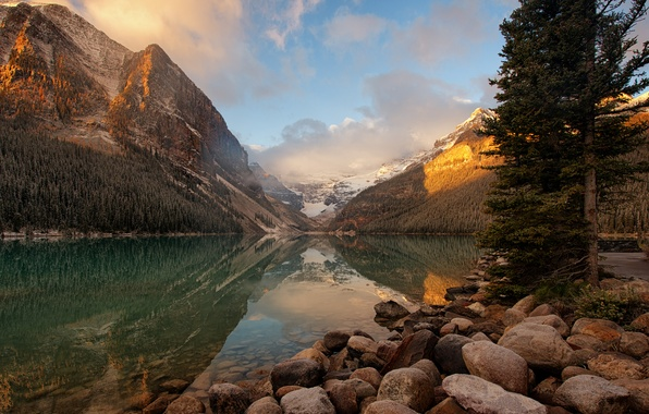 Picture lake, sunrise, morning, Canada, national Park, Banff, glacial, Louise