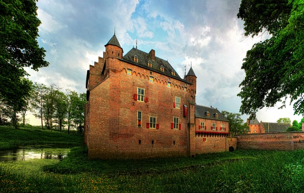 Picture grass, trees, castle, wall, Netherlands, ditch, Doorwerth castle