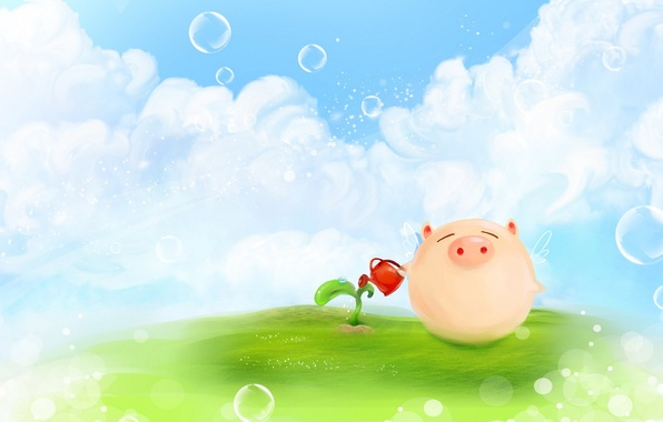 Picture clouds, bubbles, figure, plant, Rostock, wings, positive, meadow, pig, lake, pig, pig