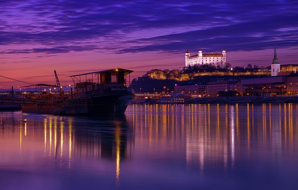 Picture the sky, clouds, night, the city, lights, reflection, river, backlight, architecture, purple, capital, lilac, The …