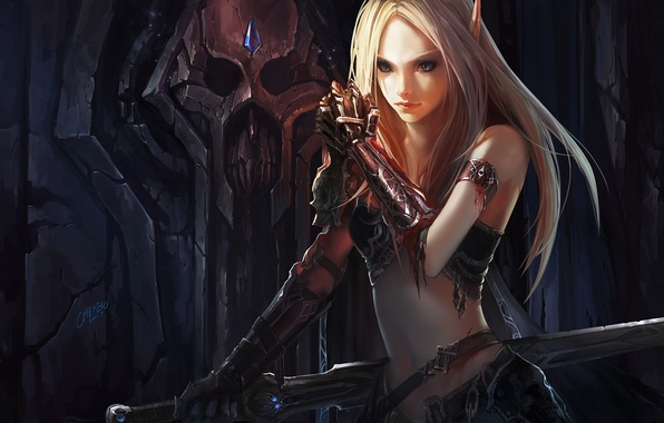 Picture blood, sword, armor, WoW, World of Warcraft, elf, chenbo