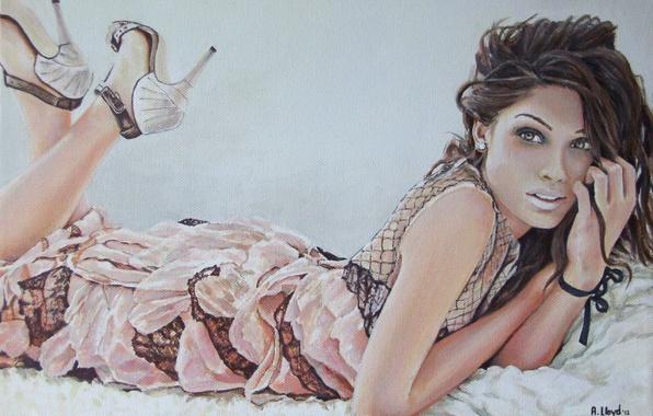 Picture eyes, look, girl, hair, hands, makeup, dress, lips, lies, heels, painting