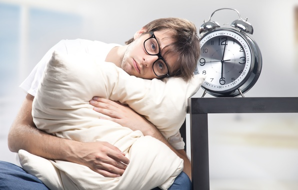 Photo wallpaper alarm clock, glasses, pillow, male, dissatisfaction, sleepy, six in the morning