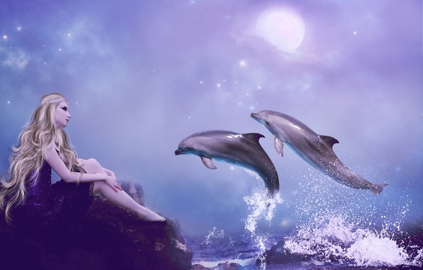Picture sea, the sky, look, girl, squirt, fiction, hair, hands, dress, blonde, dolphins, profile, sitting, long