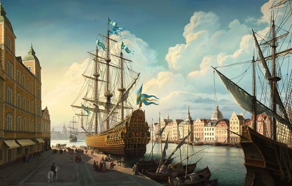 Picture clouds, river, figure, sailboat, Ship