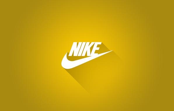 Photo wallpaper Logo, Shadow, Nike, Nike, Sports brand, Yellow background