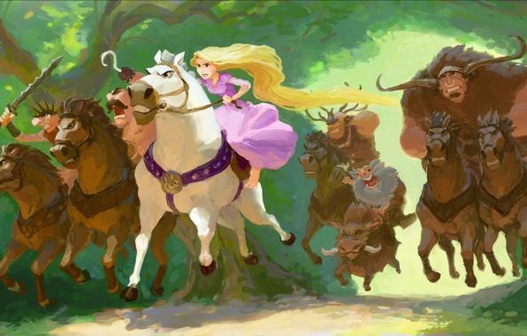 Picture forest, figure, cartoon, art, Rapunzel, riders, Tangled, Rapunzel, Walt Disney, robbers, Rapunzel: a Tangled tale, …