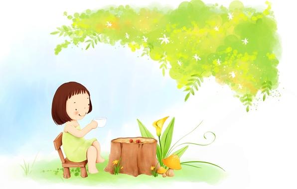 Picture flowers, smile, tree, tea, foliage, mushrooms, dress, the tea party, girl, baby Wallpaper, stump