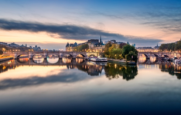Picture the city, lights, river, France, Paris, the building, home, Hay, bridges