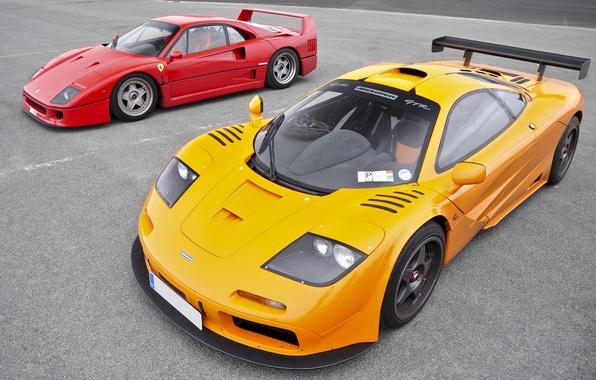 Picture red, McLaren, red, ferrari, Ferrari, gtr, supercars, gtr, supercars, f40, F40, McLaren
