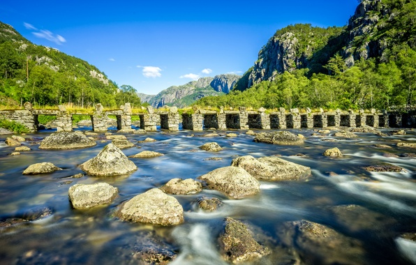 Picture mountains, bridge, river, stones, Norway, Norway, Rogaland, Rogaland, Eigersund, River Gyaåna, Hinterland Klopp, Eigersund