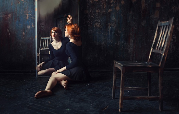 Picture girl, reflection, mirror, chair, male, redhead, George Chernyadev, The loneliness