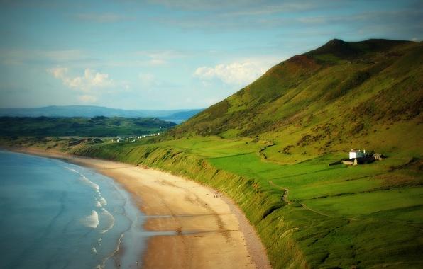 Picture sea, beach, the sky, clouds, mountains, house, shore, horizon