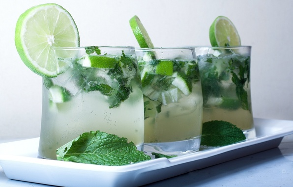 Picture ice, cocktail, lime, cold, drink, mint, Mojito