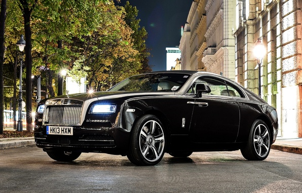 Picture trees, night, street, Rolls-Royce, the front, Rolls-Royce, Wraith, Reys