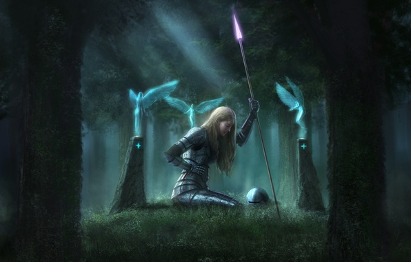 Picture forest, girl, weapons, magic, blood, wings, perfume, columns, helmet, spear, armor, wound