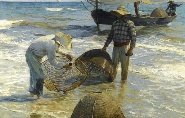 Picture sea, boat, picture, sail, trap, seascape, Joaquin Sorolla, Fishermen from Valencia