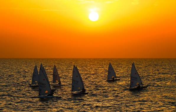 Picture sea, the sky, the sun, sunset, boat, yacht, sail, regatta
