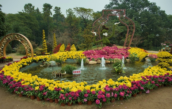 Picture trees, flowers, design, Park, track, China, arch, fountain, colorful, sculpture, Hangzhou Botanical Garden