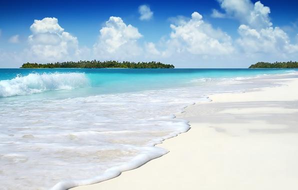 Picture sand, white, the sky, the ocean, wave, island, Clouds, Lazur, sea foam