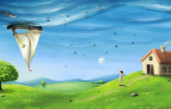 Picture sea, field, the sky, grass, girl, fish, birds, Dolphin, house, tree, hills, surrealism, the moon, …