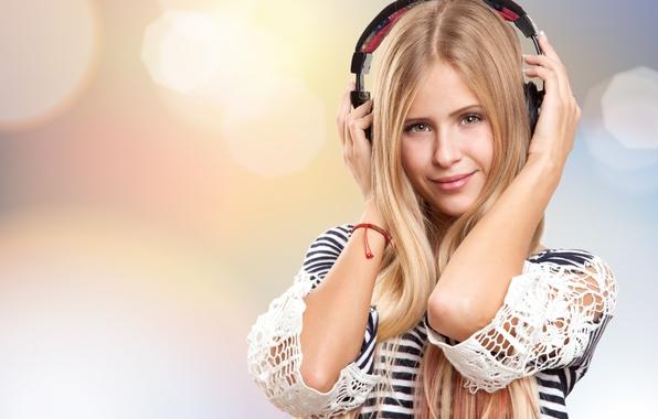 Picture summer, girl, joy, smile, music, mood, stay, relax, romance, positive, blur, headphones, sound, beauty, bokeh, …
