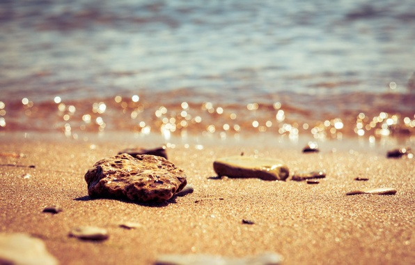 Picture The sun, Water, Sand, Nature, Beach, Stones, Russia, Kazan, Surface