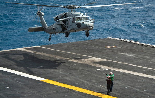 Picture sea, helicopter, the carrier, landing, Sikorsky, UH-60, Black Hawk, black hawk