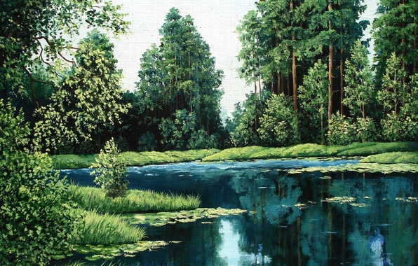 Picture forest, water, trees, landscape, nature, lake, picture, pine, painting, Lutsenko