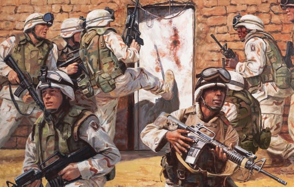 Picture weapons, figure, the door, art, soldiers, USA, capture, equipment, operation, special forces, Afghanistan, Adobe