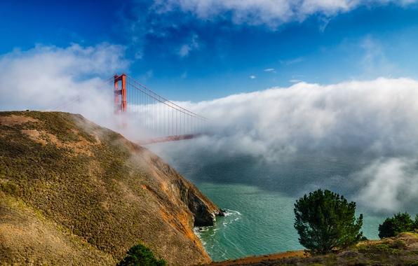 Picture clouds, bridge, fog, CA, San Francisco, Golden gate