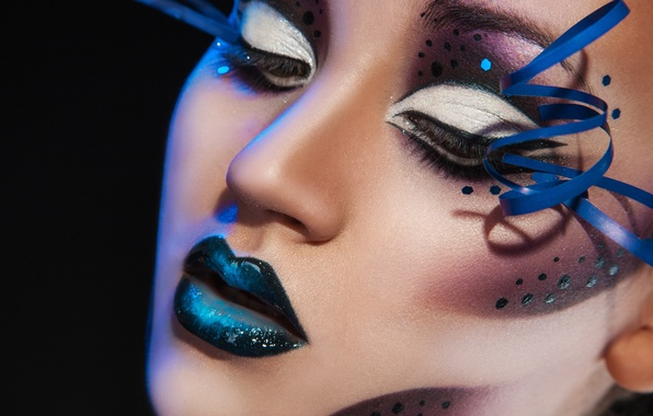 Picture girl, face, eyelashes, style, arrows, makeup, lips, black background, closeup