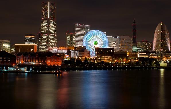 Picture night, lights, reflection, Japan, backlight, port, Bay, Ferris wheel, Japan, megapolis, Yokohama, Yokohama