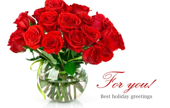 Picture flowers, roses, bouquet, red, vase