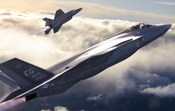 Picture aviation, fighter, art, bomber, the plane, American, Lightning II, F-35, fifth generation