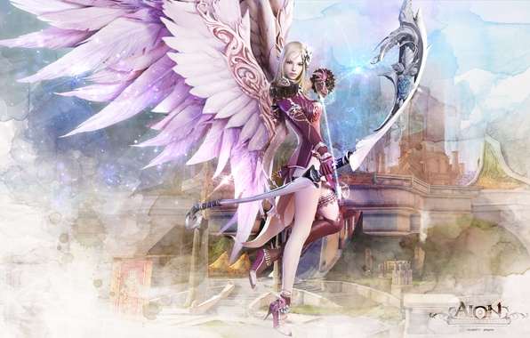 Picture weapons, castle, Girl, wings, Game, Wallpaper, Wallpapers, AION