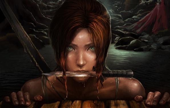 Picture eyes, look, water, drops, face, art, knife, Lara Croft, Lara Croft, Frankiew Yip, Tomb raider