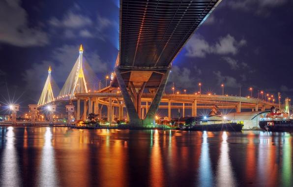 Picture night, bridge, lights, reflection, river, backlight, lights, Thailand, Bangkok, Thailand, Bangkok