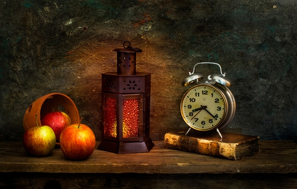 Picture apples, watch, lantern, book, The morning after