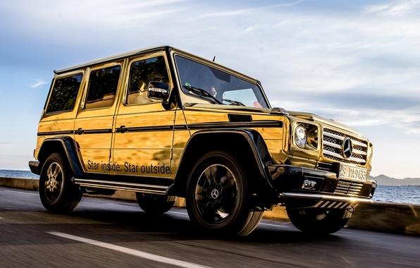 Picture the sky, Mercedes-Benz, Mercedes, jeep, SUV, gold, the front, spec.version, Festival de Cannes, G-Class