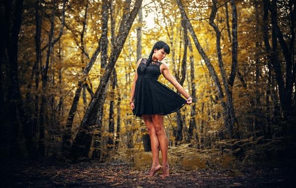 Picture FOREST, DRESS, BRUNETTE, TREES, BLACK, AUTUMN, SUNDRESS