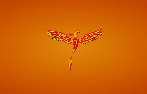 Picture bird, minimalism, red, Phoenix, phoenix, fenix, reddish background