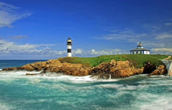 Picture sea, lighthouse, island, Spain, Spain, Ribadeo