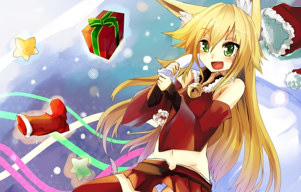 Picture new year, art, Fox, costume, girl, tail, gifts, ears, bag, Fox