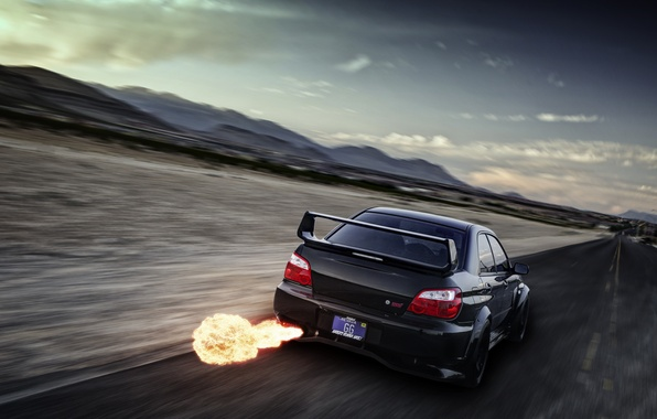 Picture flame, speed, Subaru, Impreza, blur, black, WRX, black, exhaust, rear, Subaru, Impreza, STi